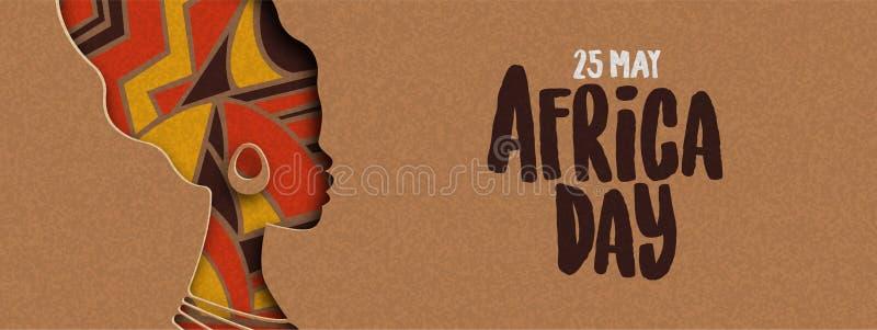 Szcz??liwy Afryka dnia sztandar afryka?ska papercut kobieta royalty ilustracja