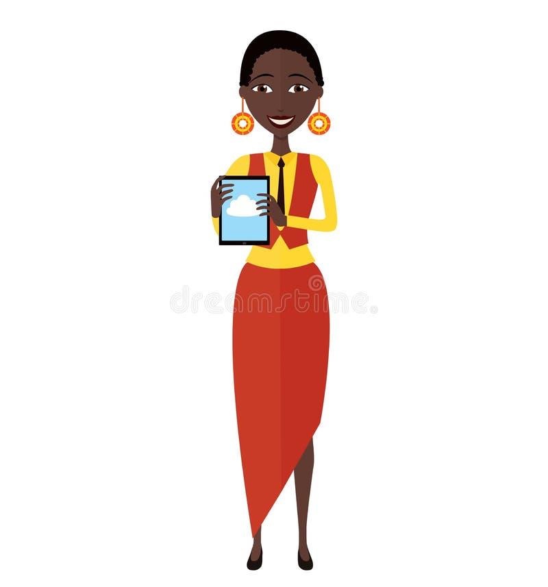 Szczęśliwy amerykanin afrykańskiego pochodzenia biznesowej kobiety charakter z pastylki mieszkaniem zdjęcie royalty free