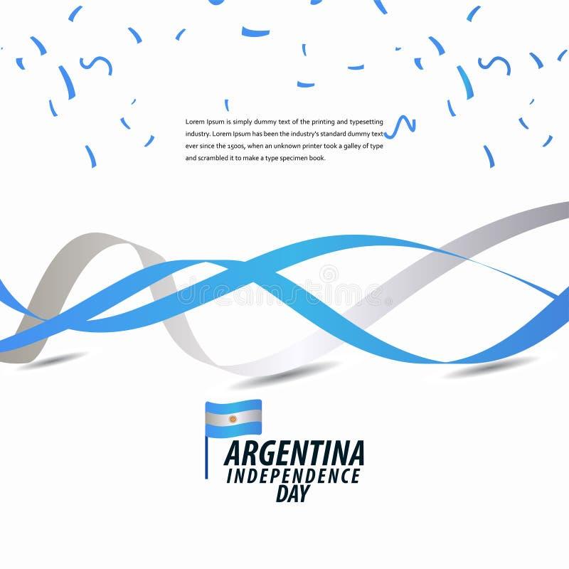 Szczęśliwy Argentyna dnia niepodległości świętowanie, plakat, Tasiemkowego sztandaru szablonu projekta wektorowa ilustracja ilustracja wektor