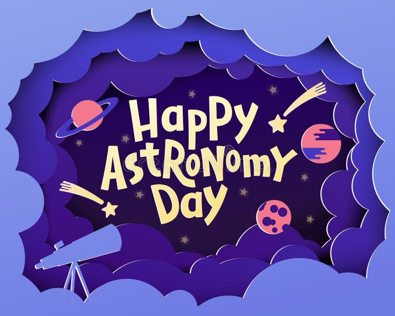 Szczęśliwy astronomia dzień Kartka z pozdrowieniami z pisać list Szczęśliwego Astronoma zdjęcia stock
