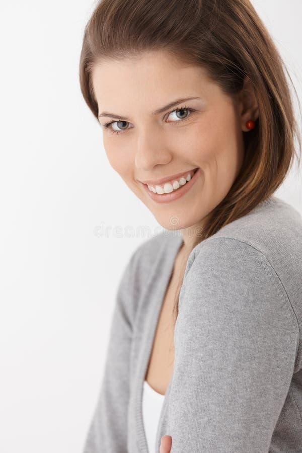 Szczęśliwy atrakcyjny żeński portret obrazy royalty free