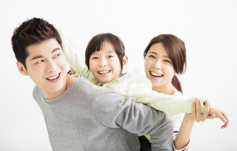Szczęśliwy Atrakcyjny Młody Rodzinny portret zdjęcie royalty free