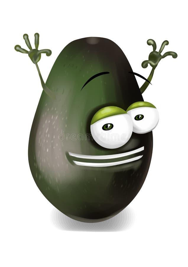 Szczęśliwy avocado postać z kreskówki śmia się joyfully ilustracja wektor