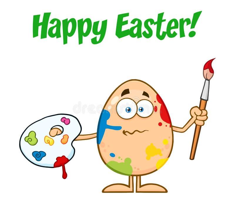 Szczęśliwy Barwiony Wielkanocnego jajka kreskówki maskotki charakter Trzyma paletę I Paintbrush royalty ilustracja