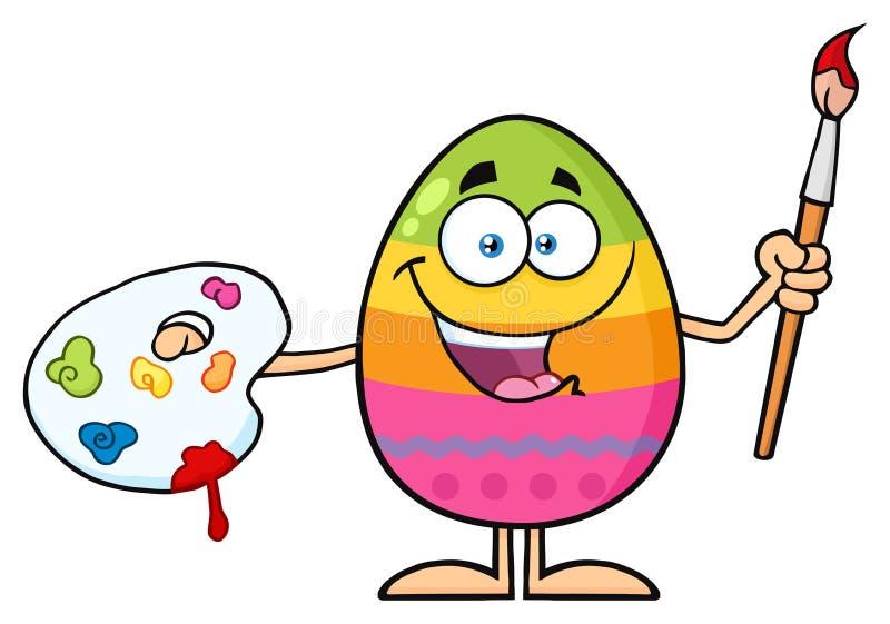 Szczęśliwy Barwiony Wielkanocnego jajka kreskówki maskotki charakter Trzyma paletę I Paintbrush ilustracja wektor