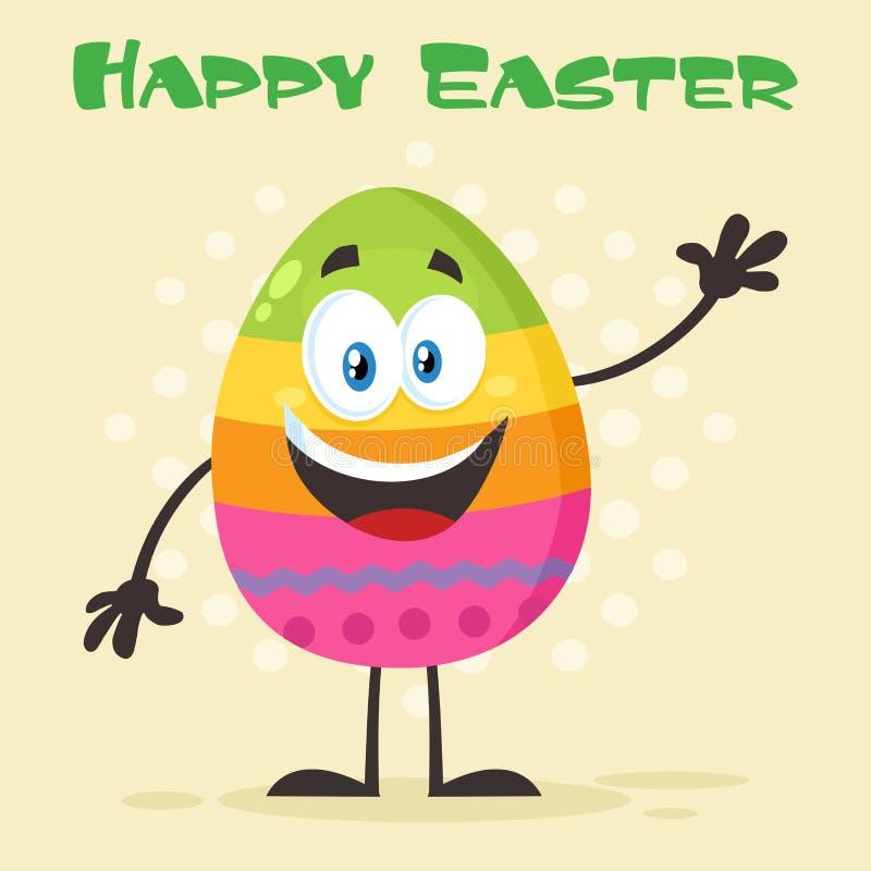 Szczęśliwy Barwiony Wielkanocnego jajka kreskówki maskotki charakteru falowanie Dla Witać royalty ilustracja