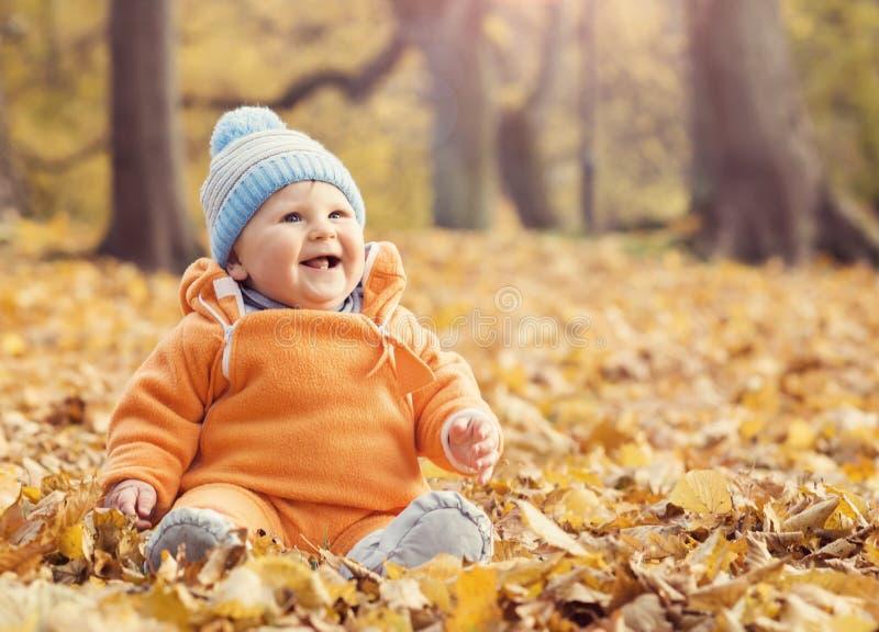 Szczęśliwy berbecia dziecko bawić się z liśćmi w jesień parku fotografia royalty free