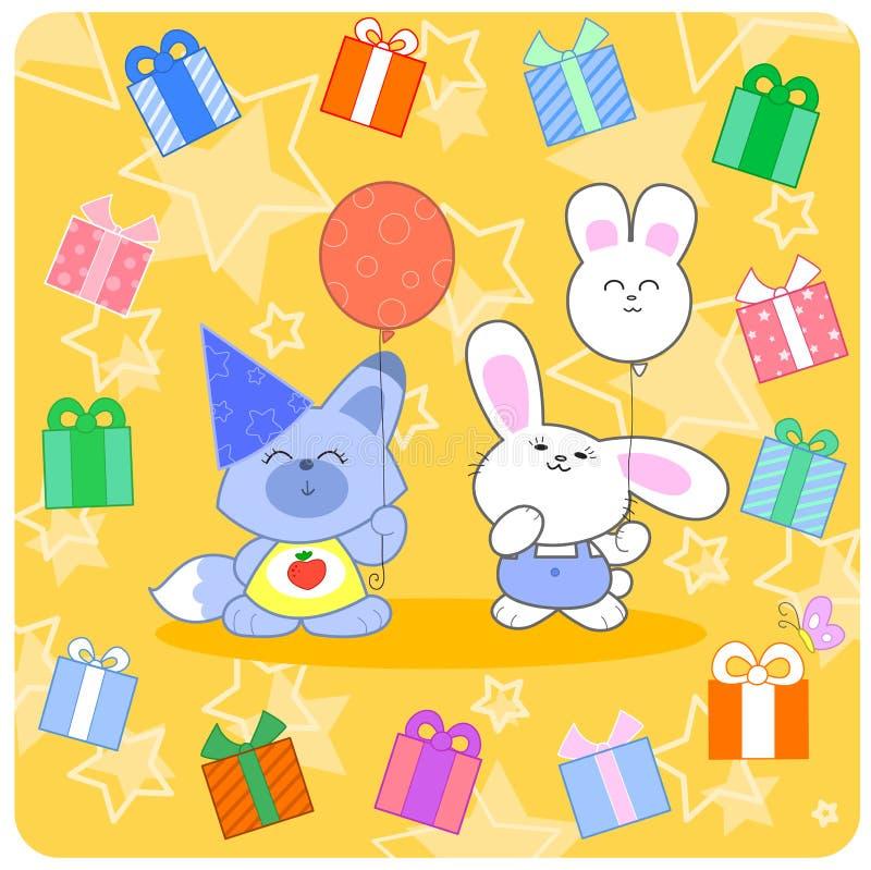 Szczęśliwy birtday! Śliczni zwierzęta i prezenty
