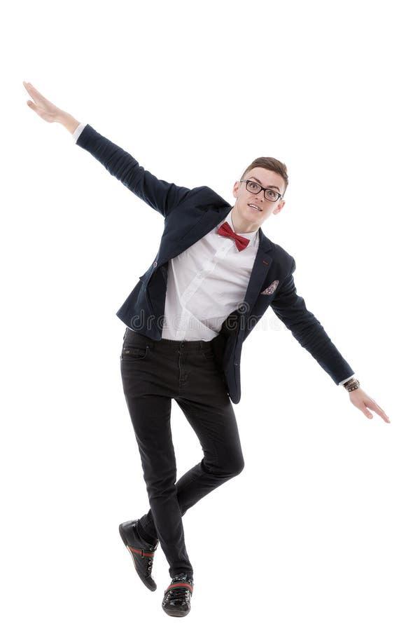 Szczęśliwy biznesmen który symuluje lot obraz stock