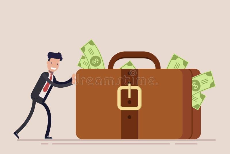 Szczęśliwy biznesmen lub kierownik pchamy ogromną teczkę z pieniądze lub walizkę Pojęcie kradzież lub łapówkarstwo wektor royalty ilustracja