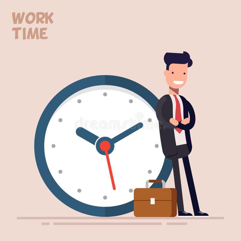 Szczęśliwy biznesmen lub kierownik stoimy blisko dużego zegaru Wektorowa ilustracja w płaskim stylu Pojęcie czas royalty ilustracja