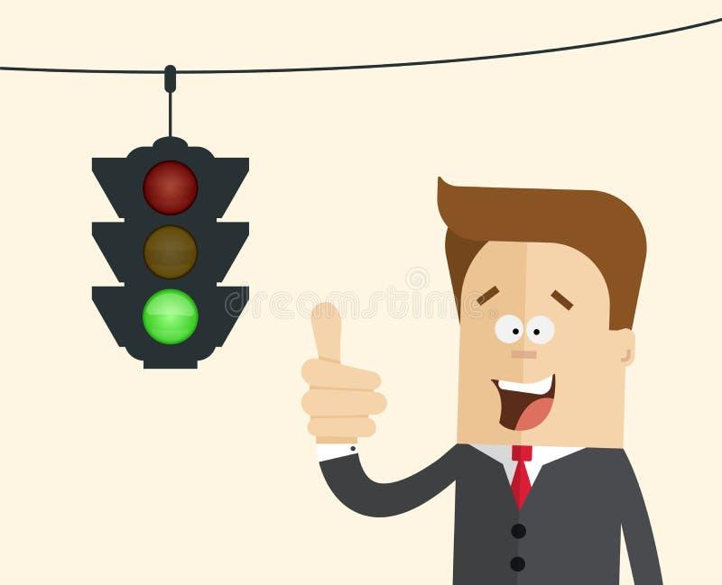 Szczęśliwy biznesmen lub kierownik w tła światła ruchu z płonącą zielenią ilustracji