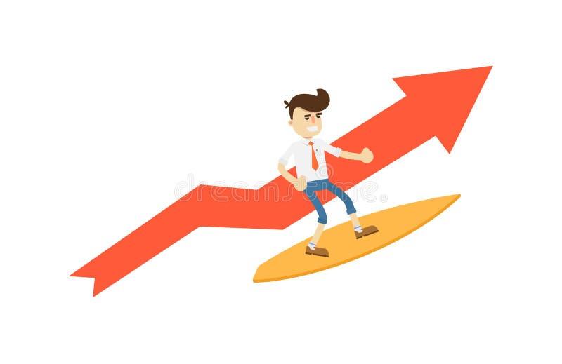 Szczęśliwy biznesmen na surfboard ikonie royalty ilustracja