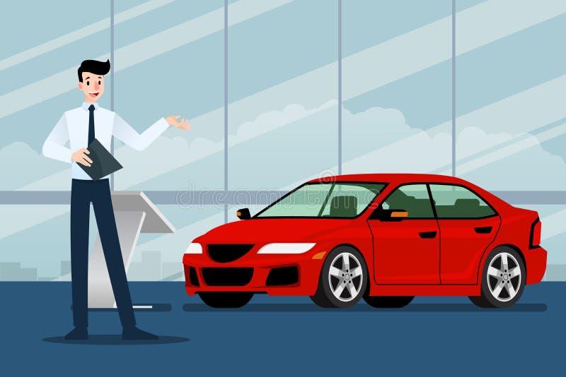Szczęśliwy biznesmen, sprzedawca stoi jego luksusowego samochód który parkował w przedstawienie pokoju i przedstawia ilustracja wektor
