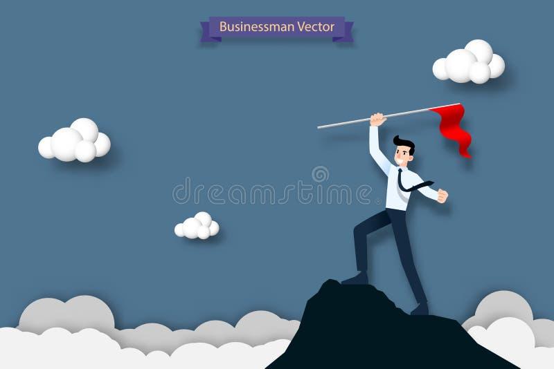 Szczęśliwy biznesmen trzyma czerwoną flaga na wierzchołku wysoka góra Sukces, cel, osiągnięcie i wyzwania pojęcie, ilustracja wektor