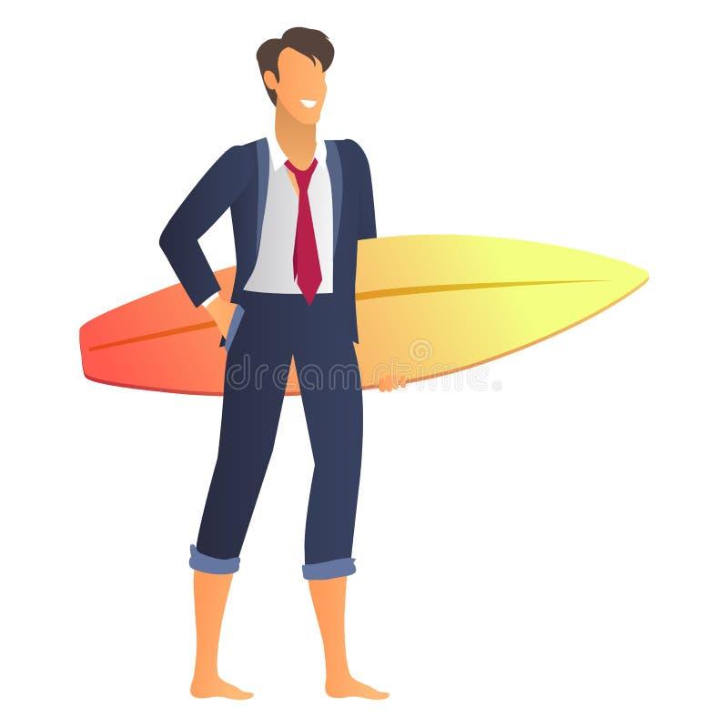 Szczęśliwy biznesmen w kostiumu z błyskotliwości Surfboard ilustracja wektor