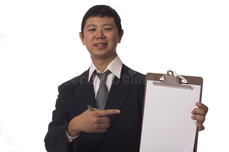 Szczęśliwy biznesmen z schowkiem obrazy stock