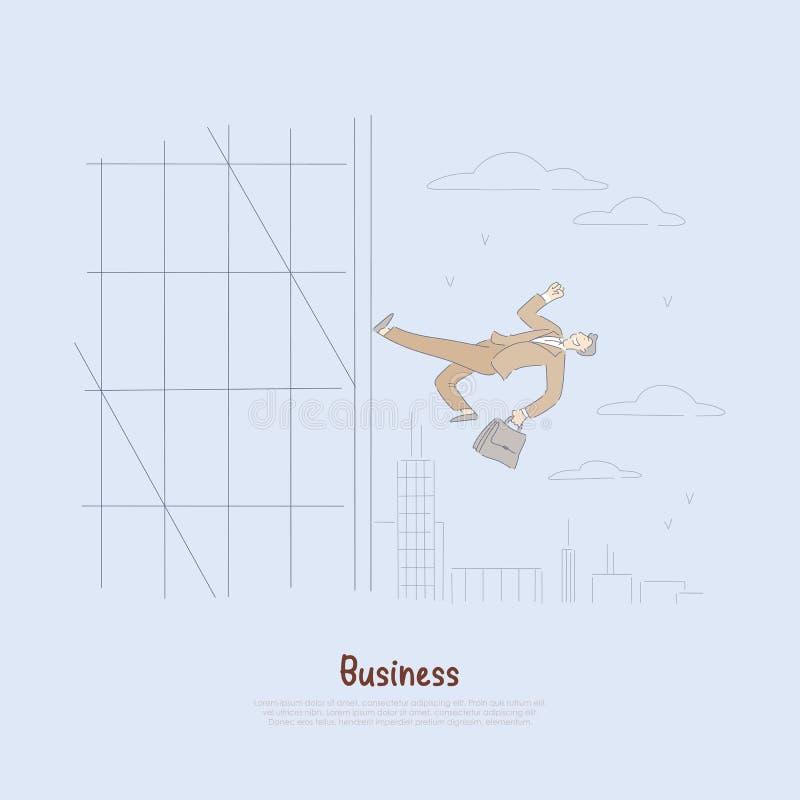 Szczęśliwy biznesmen z teczką, firma pracownik biega w górę budynek ściany, promocyjna metafora, korporacyjny sukcesu sztandar royalty ilustracja