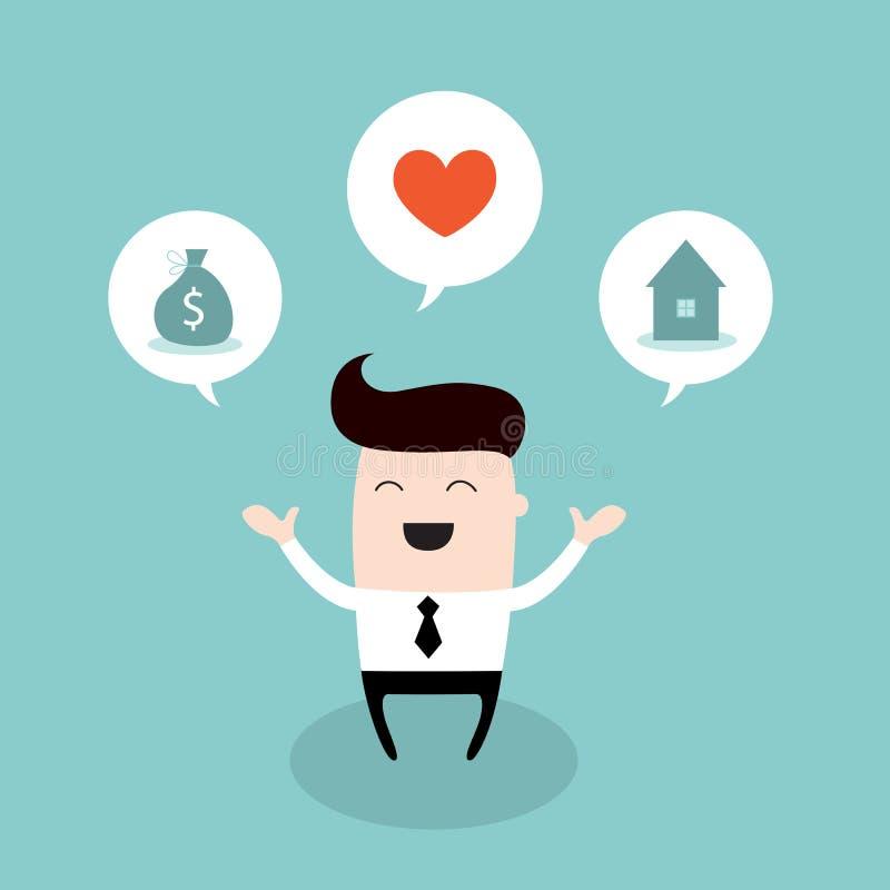 Szczęśliwy biznesmena sen o jaskrawej przyszłości ilustracji