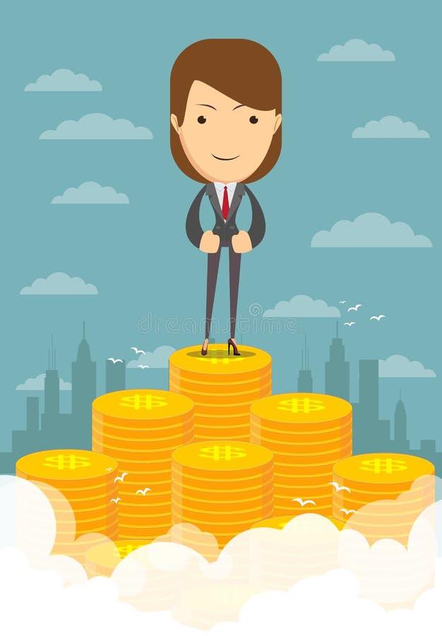 Szczęśliwy bizneswomanu dźwiganie od stosu pieniądze ilustracji