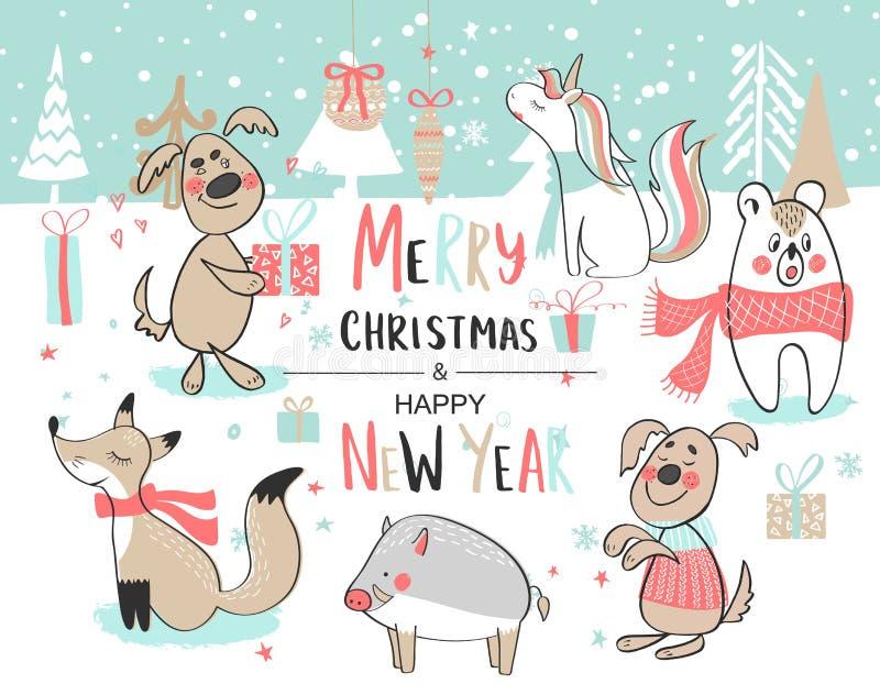 szczęśliwy Boże Narodzenie nowy rok Śliczny wektorowy ustawiający z ślicznymi pociągany ręcznie zwierzętami również zwrócić corel ilustracja wektor