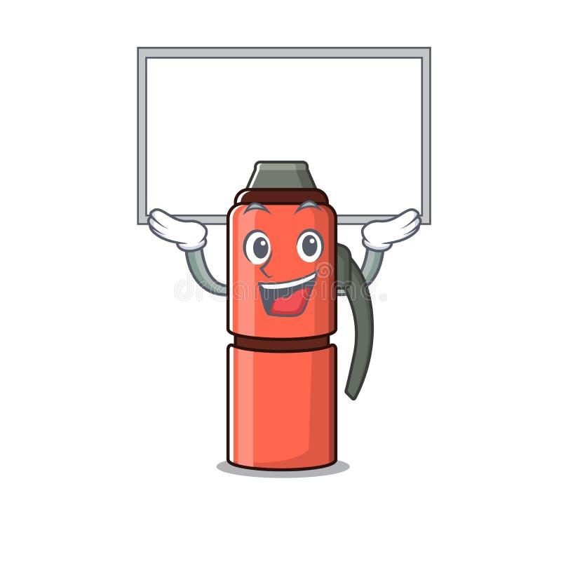 Szczęśliwy bohaterski bohaterski termos butelka Przewiń w górę ilustracja wektor