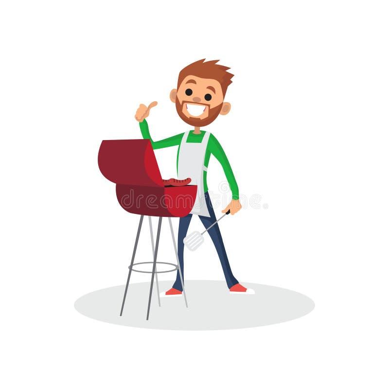 Szczęśliwy brodaty mężczyzna charakter w fartuchu pokazuje kciuk up i gotuje grilla grilla Wektorowa płaska kreskówki ilustracja royalty ilustracja