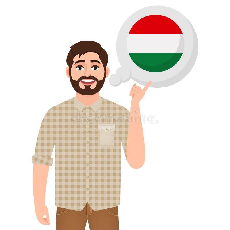 Szczęśliwy brodaty mężczyzna mówi lub myśleć o kraju ikona, podróżnik lub turysta Węgry, kraju europejskiego, ilustracji