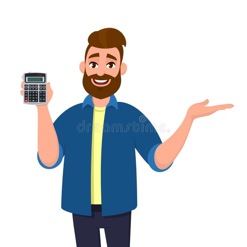 Szczęśliwy brodaty mężczyzny seans lub mienie kalkulatora cyfrowy przyrząd w ręce i wskazywać, przedstawiający coś kopiować przes ilustracja wektor