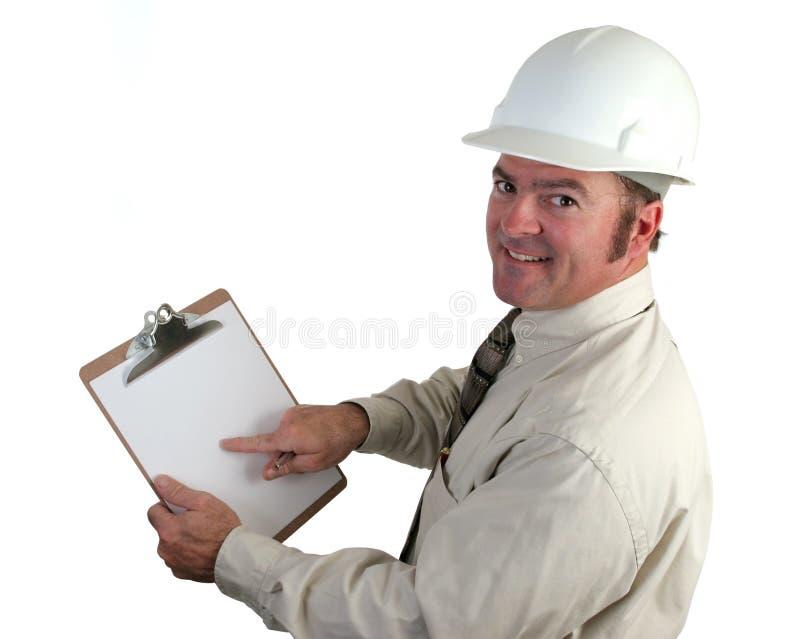 szczęśliwy budowlanych inspektora fotografia stock