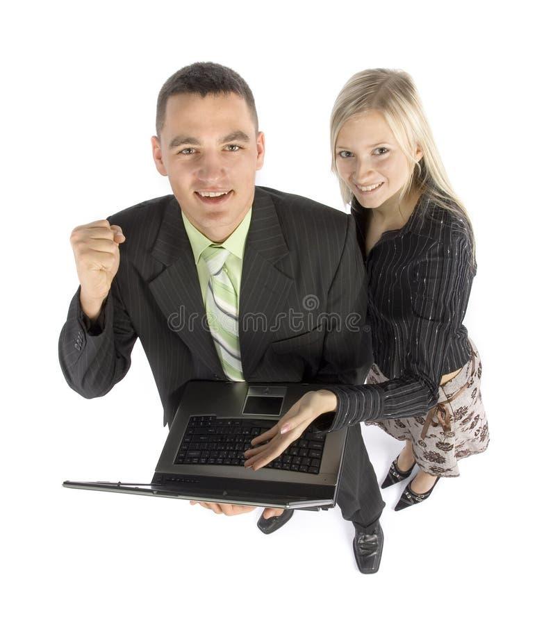 szczęśliwy businessteam laptop obrazy royalty free