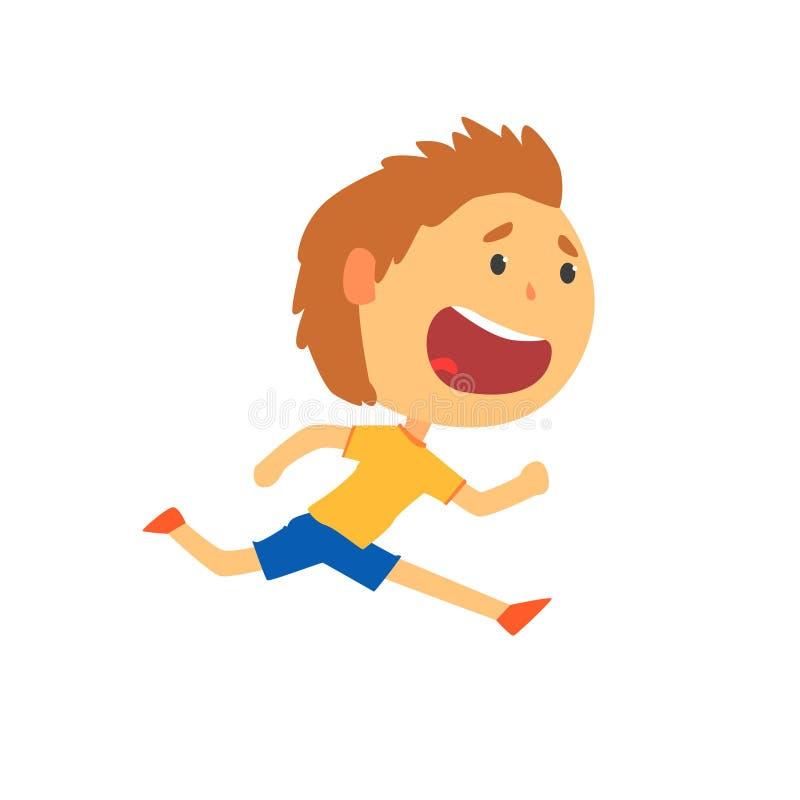 Szczęśliwy chłopiec bieg, dzieciak fizycznej aktywności kreskówki wektoru ilustracja royalty ilustracja