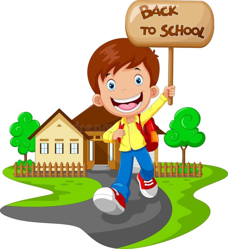 Szczęśliwy chłopiec bieg podczas gdy niosący znaka ten czytającego z powrotem szkoła ilustracja wektor