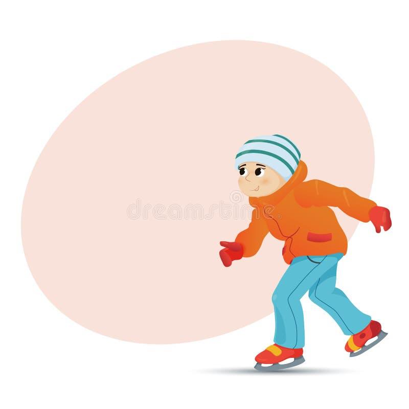 Szczęśliwy chłopiec jazda na łyżwach w zimie, miejsce dla teksta royalty ilustracja