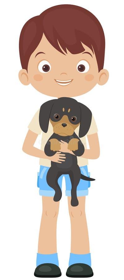 Szczęśliwy chłopiec mienia jamnika szczeniak royalty ilustracja