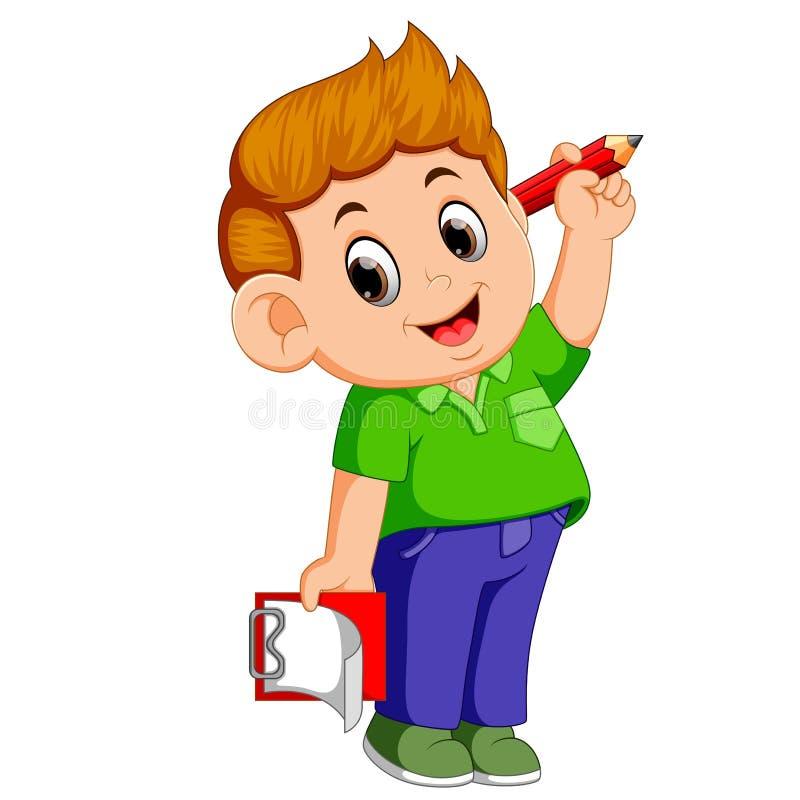 Szczęśliwy chłopiec mienia ołówek i schowek royalty ilustracja