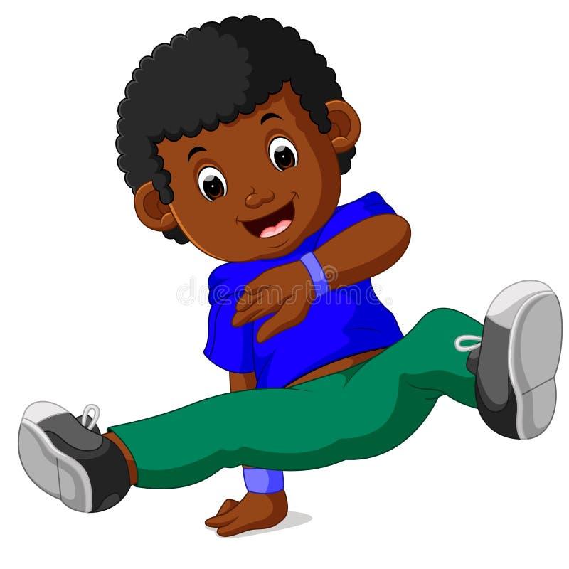Szczęśliwy chłopiec taniec ilustracji