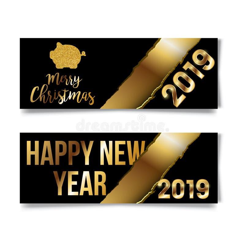 Szczęśliwy 2019, Chińscy nowy rok powitania, rok złocista świnia, pomyślność, przekład: Szczęśliwego nowego roku bogaci świniowac royalty ilustracja