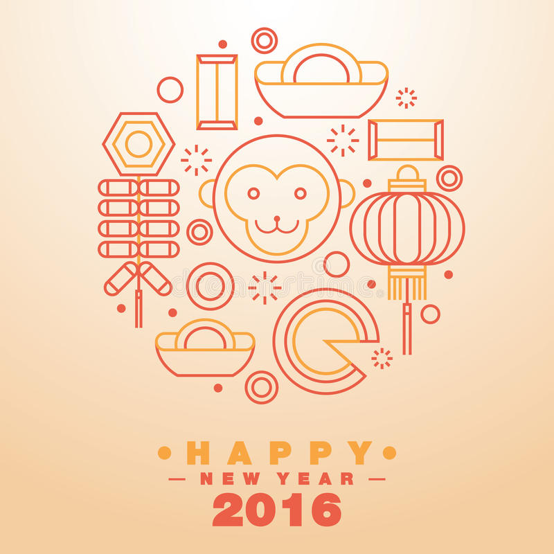 Szczęśliwy Chiński nowego roku kartka z pozdrowieniami ikon 2016 symbol - wektor ilustracji