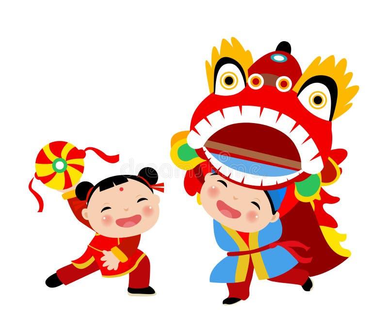 Szczęśliwy Chiński nowego roku/lew taniec ilustracji