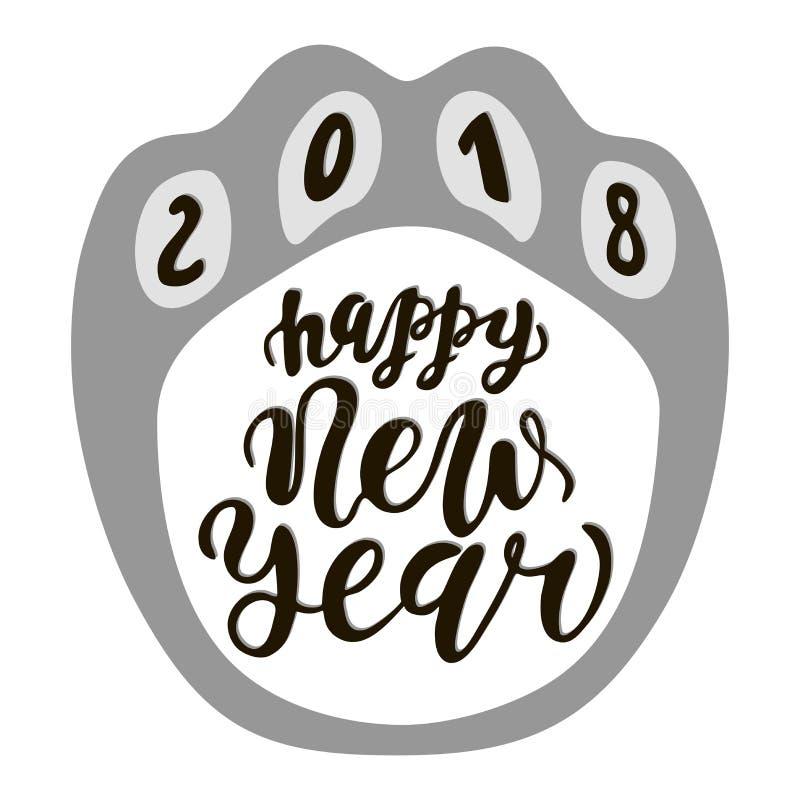 Szczęśliwy Chiński nowego roku 2018 pies, tekst ręki rysujący literowanie Wakacyjna powitanie wycena Wielki dla bożych narodzeń i ilustracji