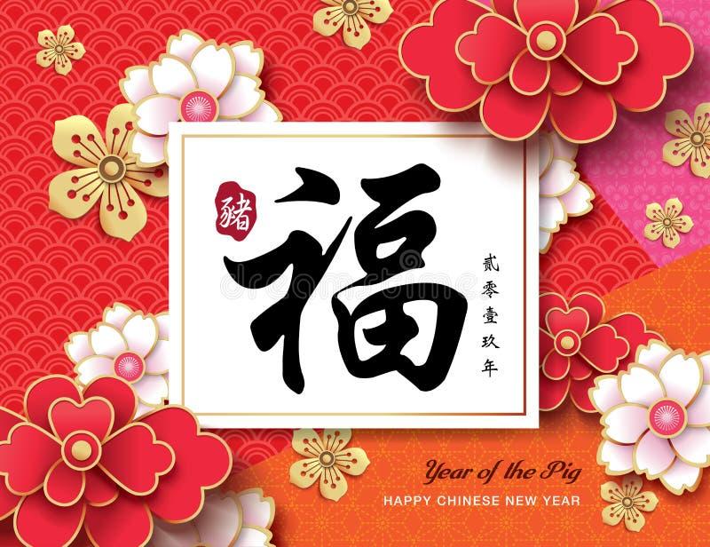 Szczęśliwy Chiński nowy rok 2019 royalty ilustracja
