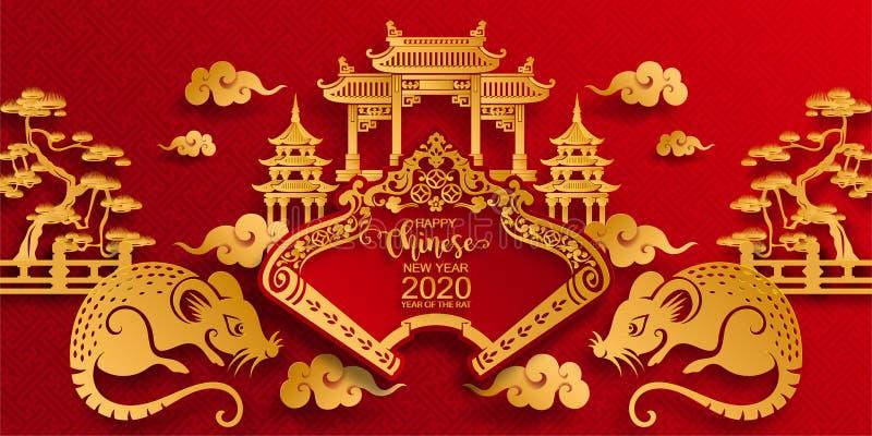 Szczęśliwy chiński nowy rok 2020 ilustracji