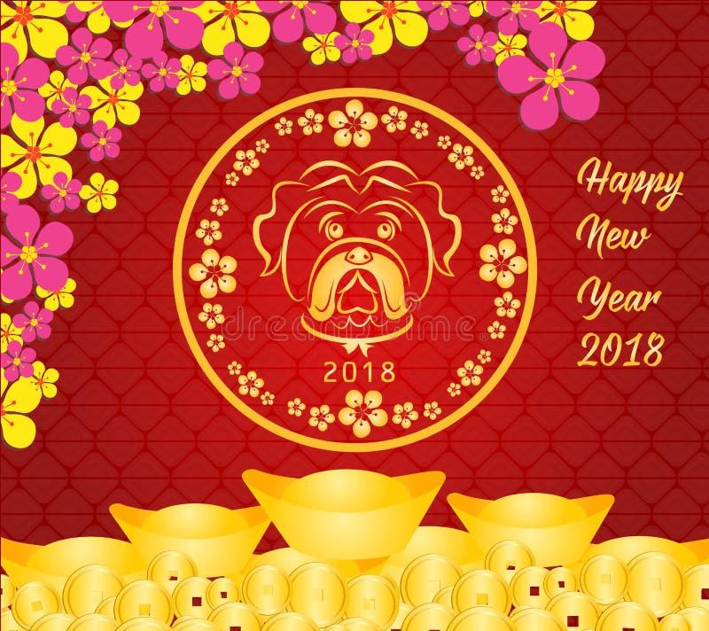 Szczęśliwy Chiński nowy rok 2018 karciany jest Złocistych monet pieniądze - rok pies ilustracji