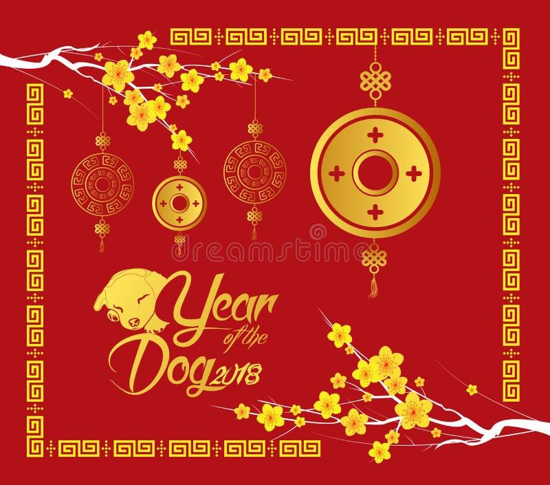 Szczęśliwy Chiński nowy rok 2018 karciany, Złocista moneta, rok pies ilustracja wektor