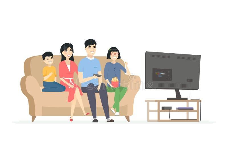Szczęśliwy Chiński rodzinny ogląda TV - nowożytni kreskówka charakterów ilustracyjnych ludzie royalty ilustracja