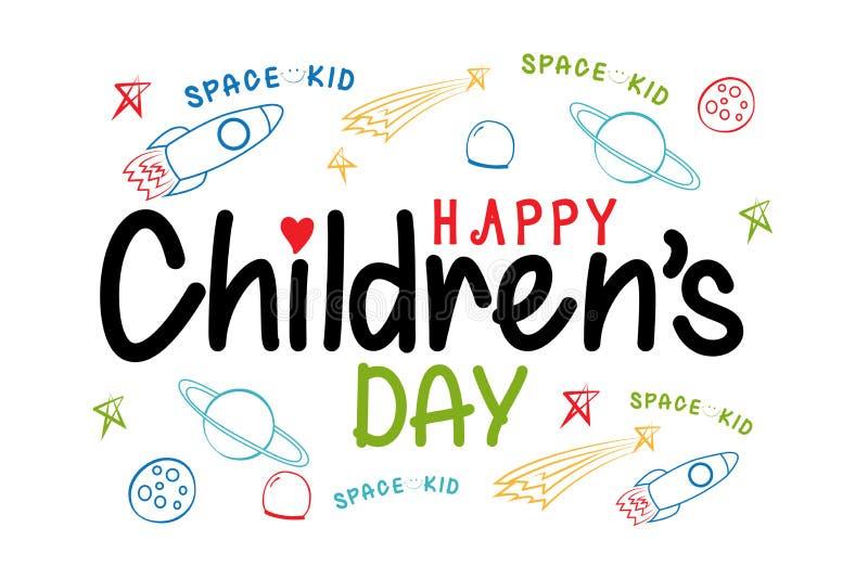 Szczęśliwy Children dnia przestrzeni dzieciak royalty ilustracja
