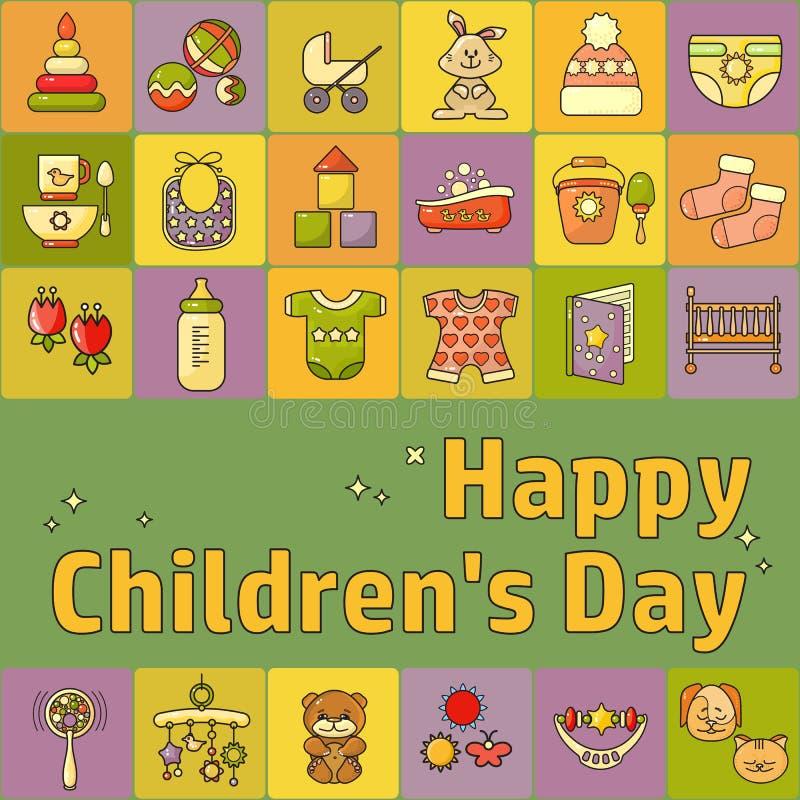 Szczęśliwy Children dzień Zabawki, ubrania i dzieciaków akcesoria, ilustracja wektor