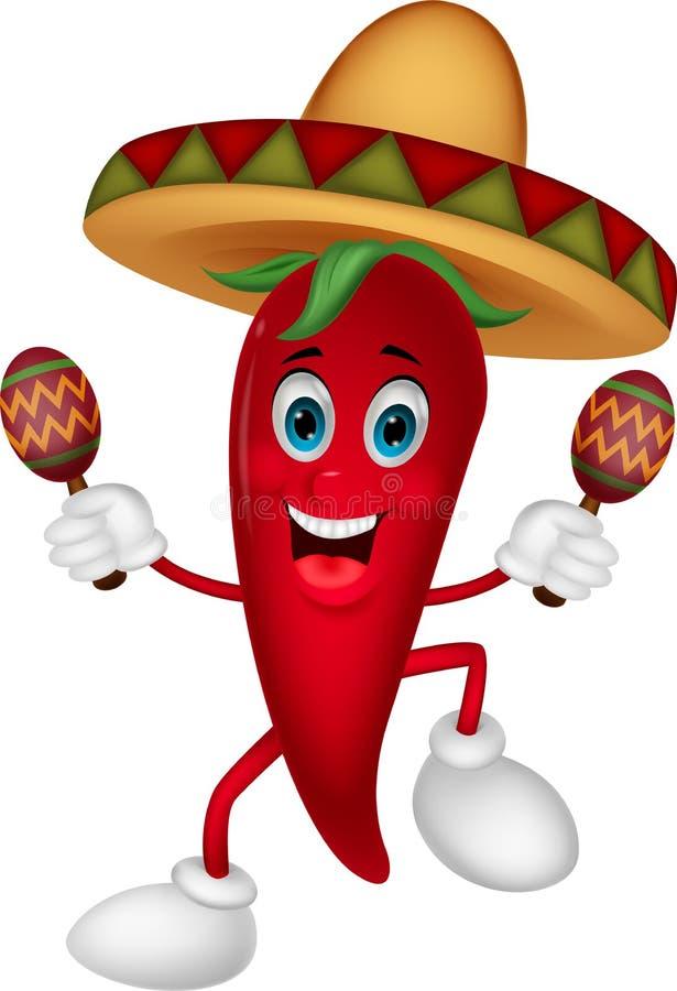 Szczęśliwy chili pieprzu kreskówki taniec z marakasami ilustracji