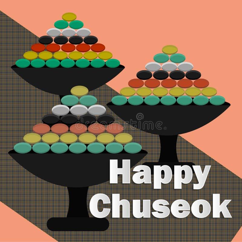 Szczęśliwy chuseok w kreskówka stylu na purpurowym tle Jesieni żniwa wakacje tło Dzi?kczynienie Dzie? Koreański wakacje - chuseok royalty ilustracja